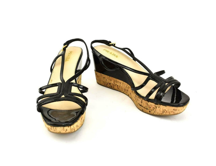 PRADA: Black, Leather & Cork Wedge, Strappy Sandals/Heels Sz: 10M