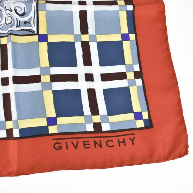 "GIVENCHY: Red/Multicolor, 100% Silk Twill, Scarf/Foulard 35"" x 35"" (rq)"