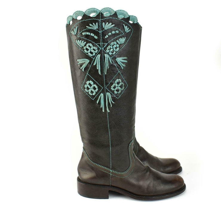 BCBG MAXAZRIA: Dark Brown, Leather & Teal Cut-Out Boots Sz: 6.5M