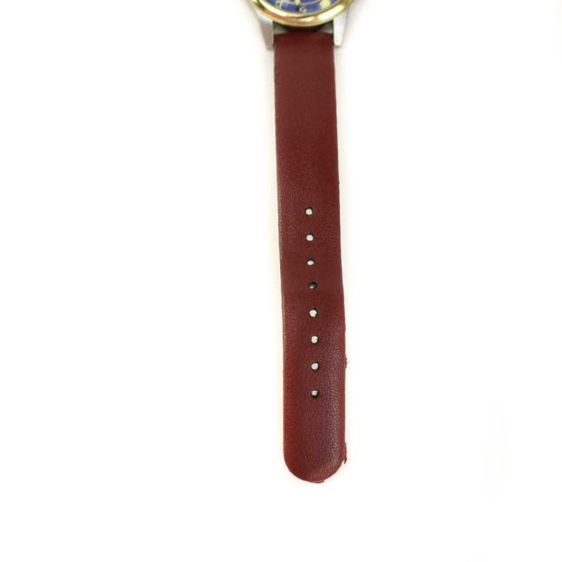 "DEEP DYED: Red, Leather & Gold ""Constellations"" Women's Quartz Watch"