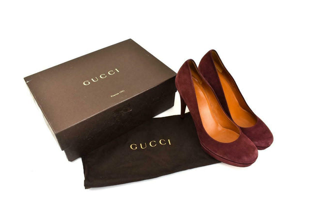 GUCCI: Burgundy, Leather Platform Heels/Pumps Sz: 8.5M