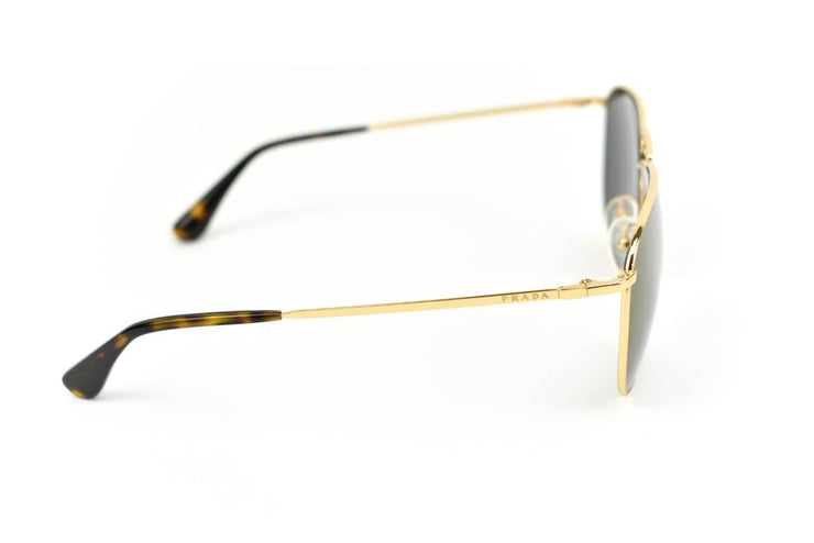 "PRADA ""Aviator"": Gold, Metal & Logo Mirrored Sunglasses (mz)"