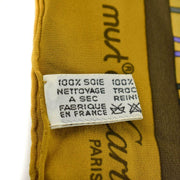 "CARTIER ""Must de"" Goldenrod, ""Double C"" Logo 100% Silk, Scarf 34"" x 30"" (nn)"