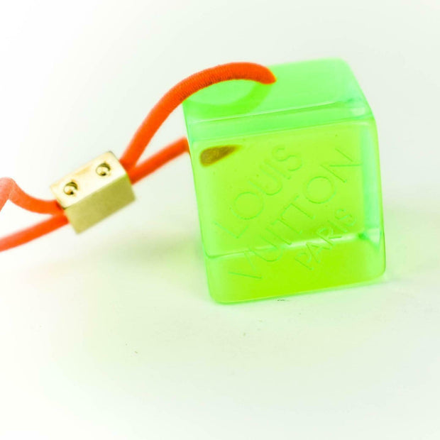 "LOUIS VUITTON: Fluorescent Green, ""LV"" Logo Hair Tie/Ponytail Holder (ms)"