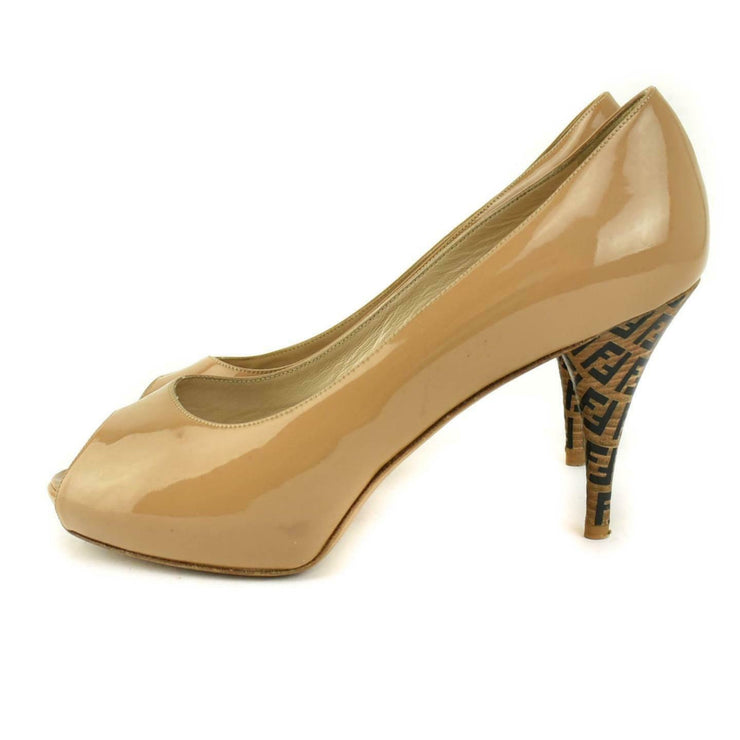 "FENDI: Tan, Patent Leather & ""FF"" Logo Peep-Toe Pumps/Heels Sz: 9M"