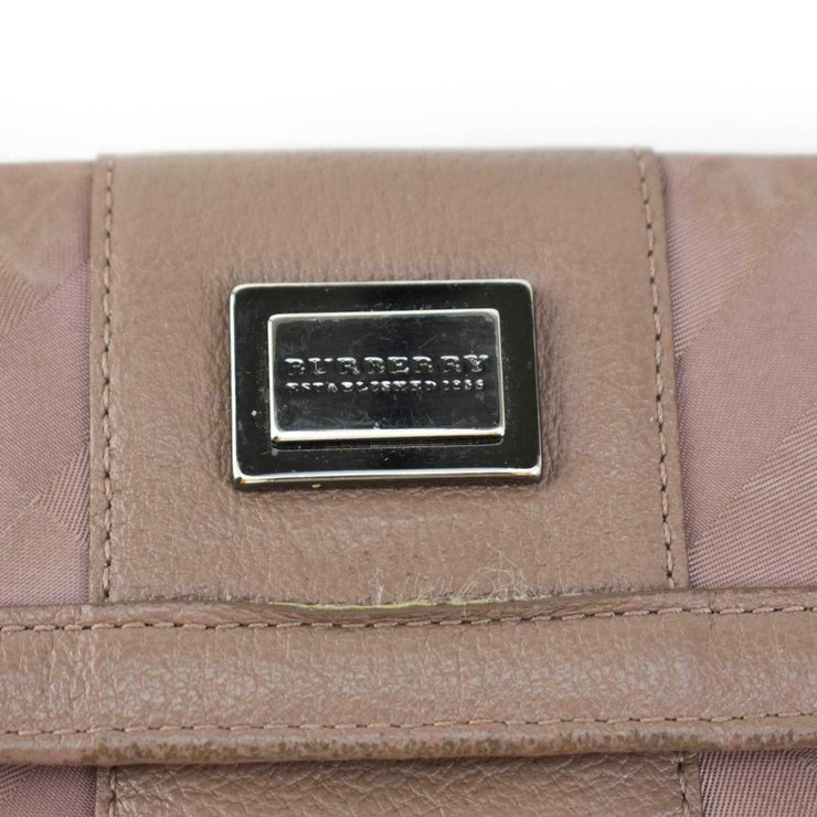 "BURBERRY: Crepe Pink, Leather & ""Nova Check"" Logo Long Folding Wallet"