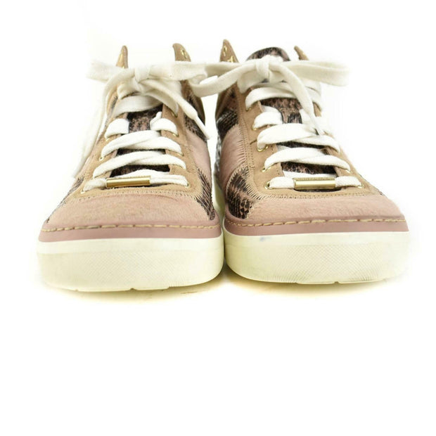 JIMMY CHOO: Beige/Blush, Leather & Calf-Hair Logo Sneakers/Athletic Shoes Sz: 7M