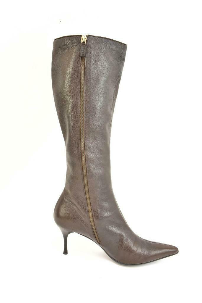 GUCCI: Brown, Leather & Logo, Tall Boots Sz: 9.5B