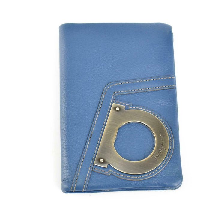 "SALVATORE FERRAGAMO: Blue, Leather & ""Gancini"" Logo Medium Wallet (mu)"
