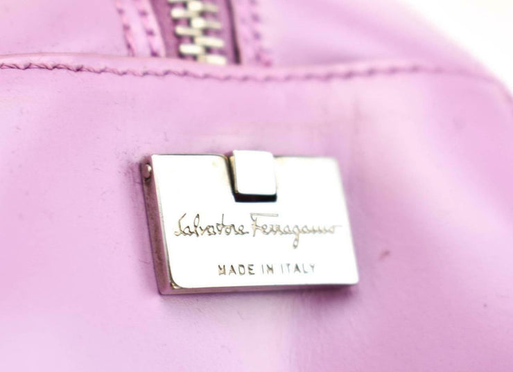 "SALVATORE FERRAGAMO: Lavender, Leather & ""Gancini"" Logo Shoulder Bag (mw)"