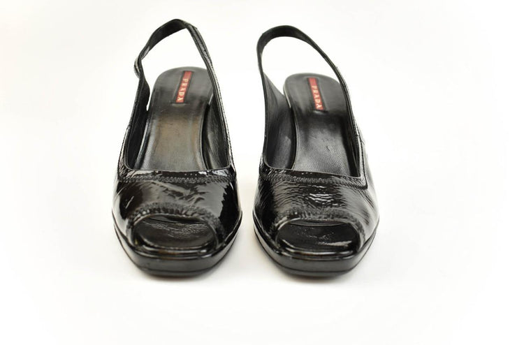 PRADA: Black, Patent Leather, Slingback Wedges/Sandals Sz: 6.5M