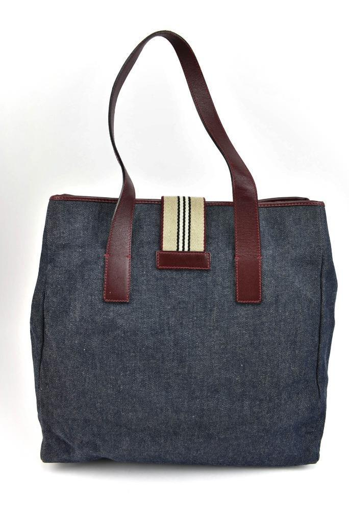 BURBERRY: Dark Blue Denim, & Leather Large Tote/Shoulder Bag (ov)