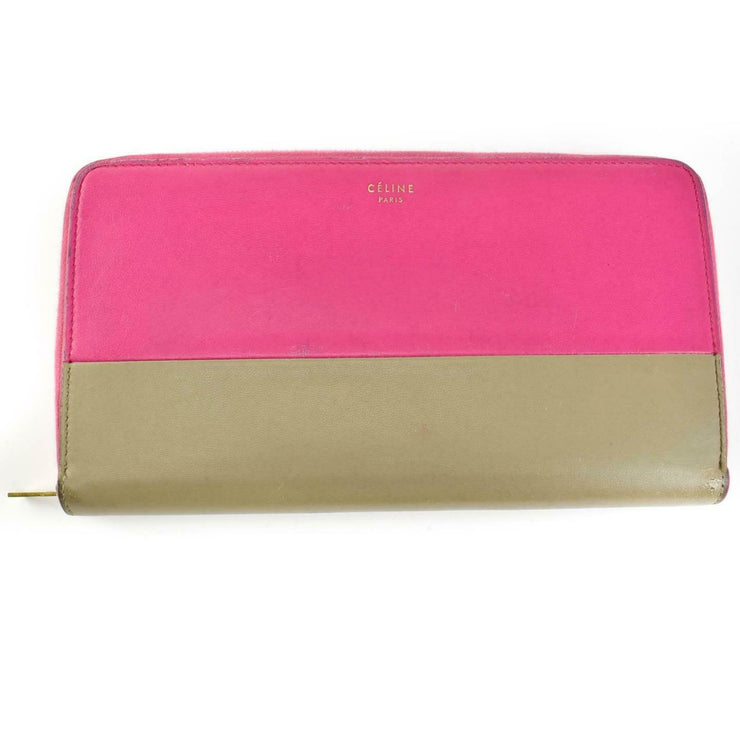 CELINE: Hot Pink, Color-Block Leather & Logo Long Zip-Around Wallet (mu)