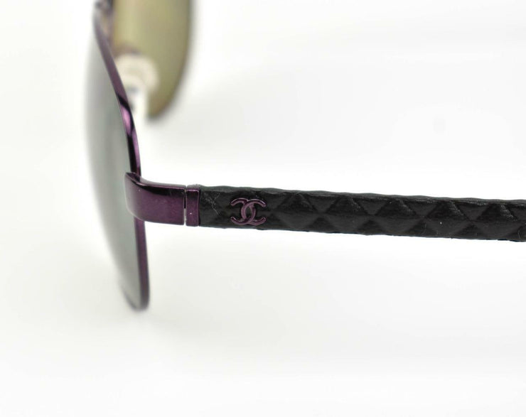 "CHANEL ""Aviator"": Metal, ""CC"" Logo & Leather, Polarized Sunglasses (wx)"