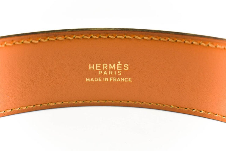 "HERMES ""Stirrup"": Brown Leather & Gold Buckle Belt (fits 24""- 27"")"