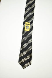 VERSACE: Gold, Geometric & Logo, 100% Silk, Club Tie