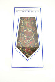 GIVENCHY: Navy Blue/Red, Paisley & Logo, 100% Silk, Club Tie (mp)