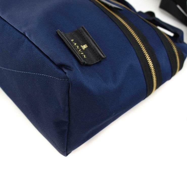 "LANVIN ""en Bleu"" Navy Blue/Black, Logo Backpack/Convertible Bag (mn)"