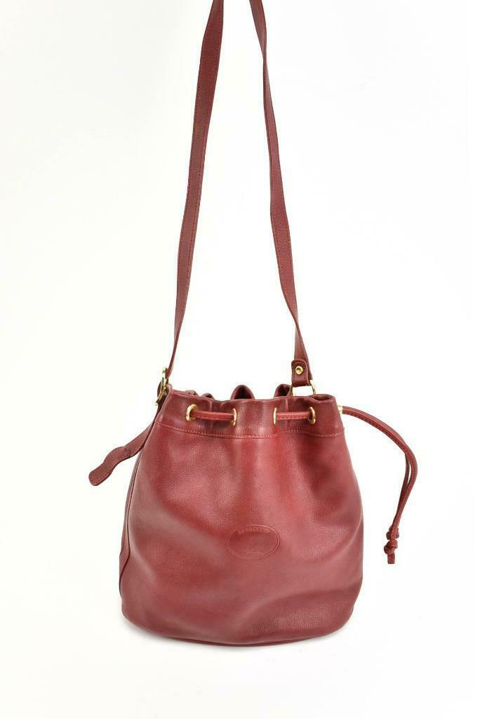 LONGCHAMP: Red Leather & Logo Drawstring Shoulder/Bucket Bag (mp)