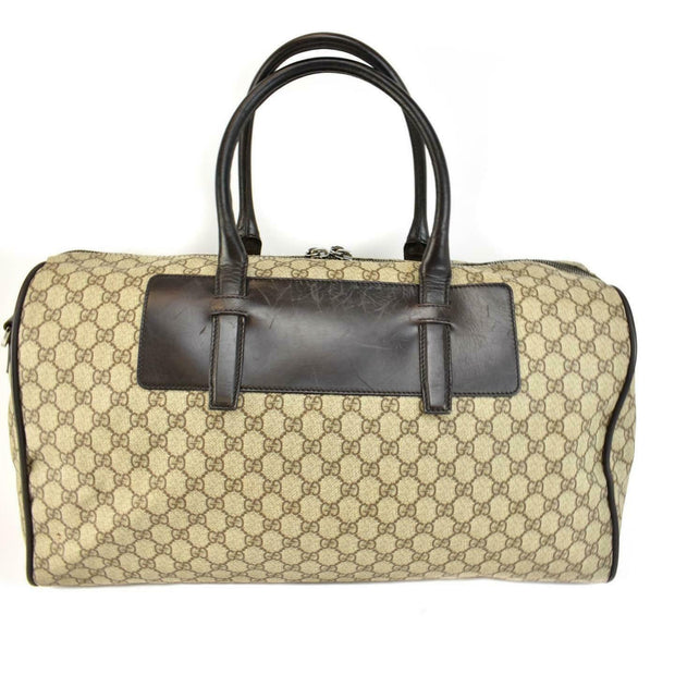 "GUCCI: Beige, ""GG"" Logo & Leather Large Duffel/Weekender Bag (vo)"