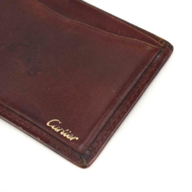 CARTIER: Burgundy, Leather & Logo Card/ID Wallet (oo)