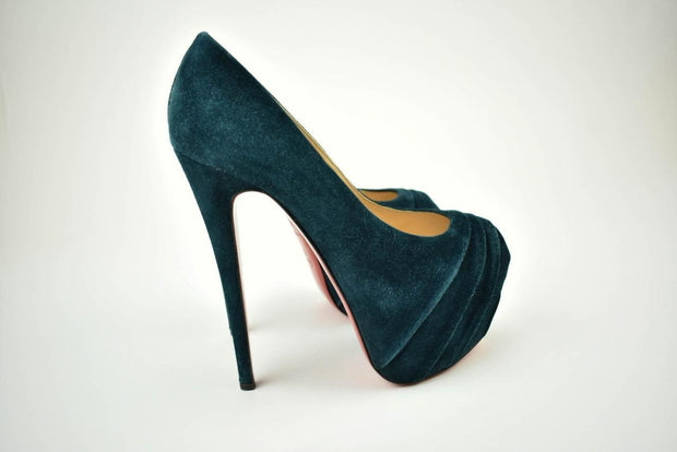 CHRISTIAN LOUBOUTIN: Teal, Leather, Platform Heels/Pumps Sz: 8M