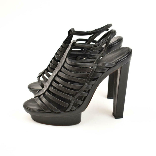 BALENCIAGA: Black, Leather Platform Sandals/Heels Sz: 8.5M