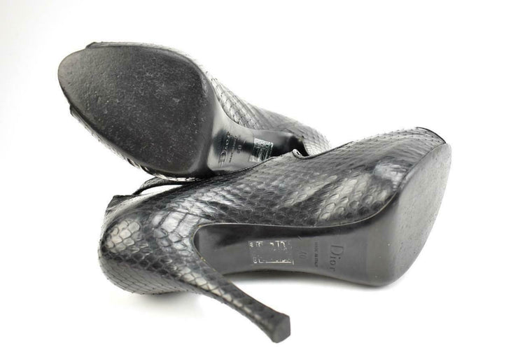 "DIOR: Black, Leather ""Python"" Peep-Toe Heels/Pumps Sz: 9.5M"