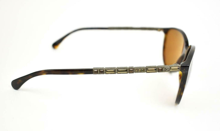 "CHANEL ""Bijou Cat Eye"": Tortoise Brown & ""CC"" Logo, Polarized Sunglasses (yu)"