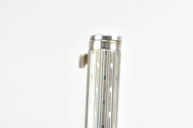 "TIFFANY & CO: Sterling Silver & ""T"" Clip, Geo Pattern Ballpoint Pen (mp)"