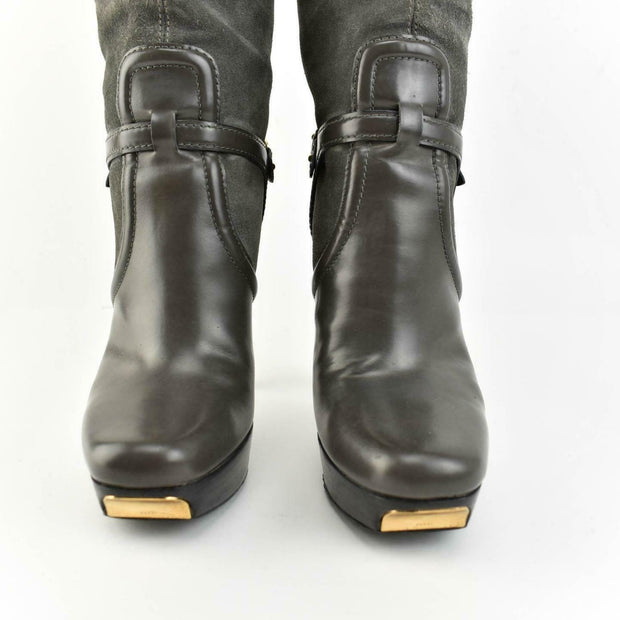 "GUCCI: Gray Leather, ""Stirrup Buckles"" & ""Gucci"" Logos Tall Boots Sz: 8.5C"