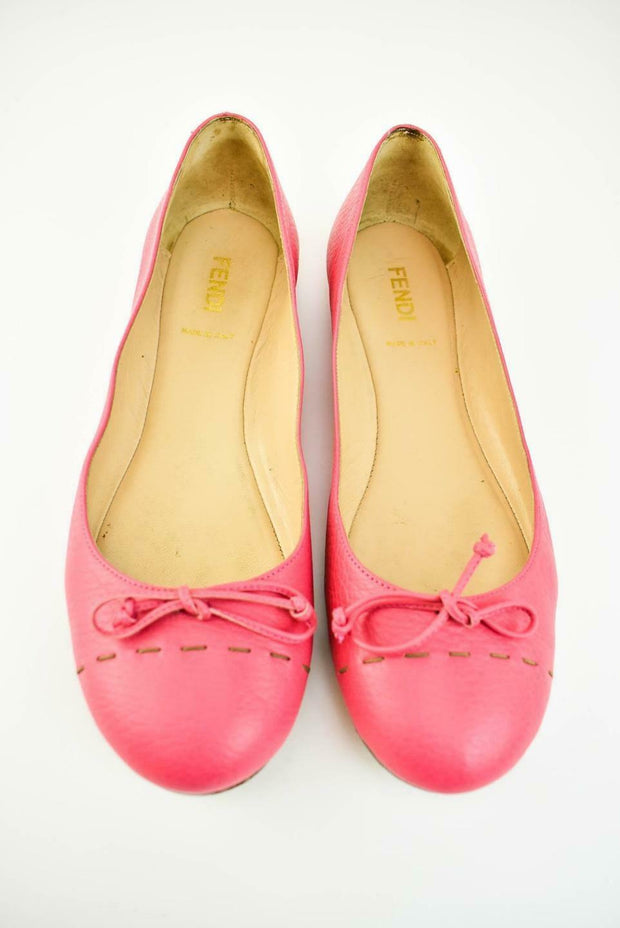 FENDI: Pink Leather Ballet Flats Sz: 9M