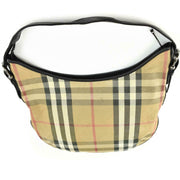 "BURBERRY: Beige, ""Nova Check"" & Black Leather Logo Shoulder/Hobo Bag (vu)"