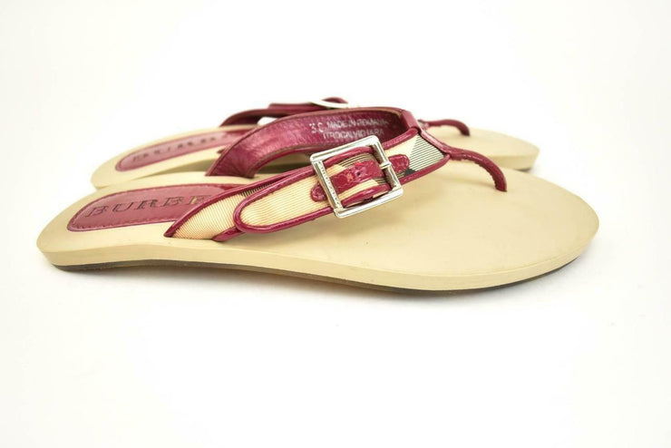 "BURBERRY: Berry, Leather & ""Nova Check"" Flat Sandals/Flip Flops Sz 7.5M (mq)"