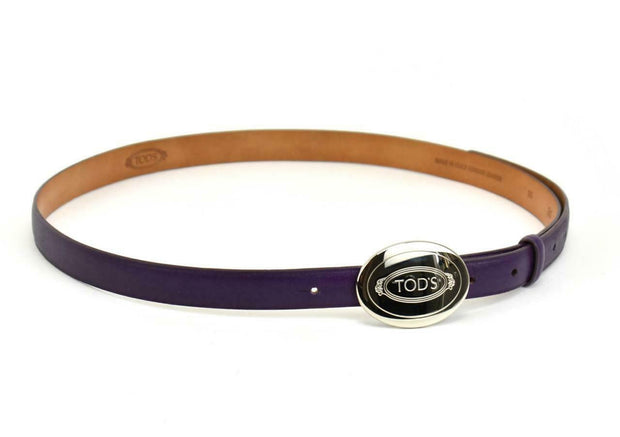 "TOD'S: Purple, Leather & Silver Metal Logo Buckle, Belt - fits 29"" to 37 (mo)"