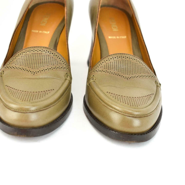 FENDI: Taupe Brown, Leather & Burgundy Python Loafers/Pumps Sz: 6M