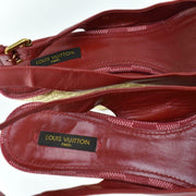 "LOUIS VUITTON: Red, Leather, Espadrille & Logo ""Dice"" Wedge Heels Sz: 8.5M"