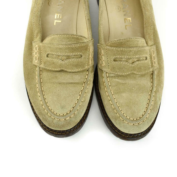 "CHANEL: Beige, Leather & ""CC"" Logo Loafers/Flats Sz: 5M"