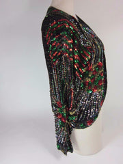 Black, 100% Silk, Long-Sleeve Sequined Top - Party/Holiday  Sz: M