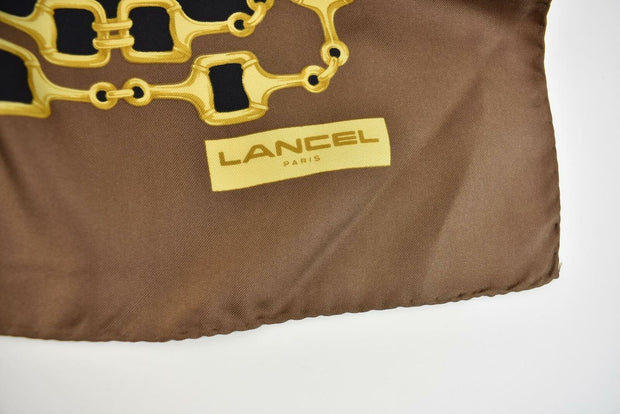 "LANCEL Paris: Brown/Gold/Multicolor, 100% Silk Scarf/Foulard 34"" x 34"" (py)"