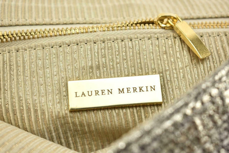 "LAUREN MERKIN: Metallic Gray ""Python"" Clutch/Eveing Bag  (mp)"