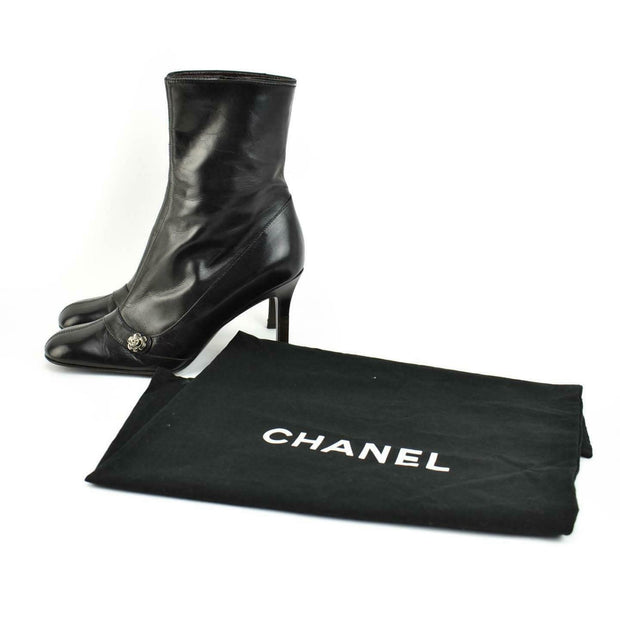 "CHANEL: Black, Leather ""Camellia"" & ""CC"" Logo Short Boots Sz: 6.5M"