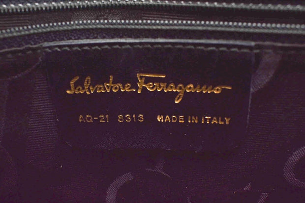 "SALVATORE FERRAGAMO: Midnight Blue, Leather & ""Gancini"" Logo Shoulder Bag (mw)"