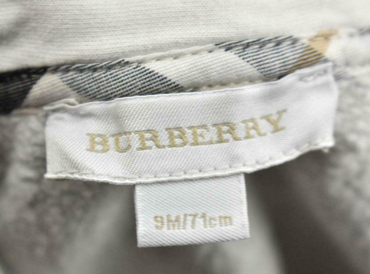 "BURBERRY Baby: Heather Gray & ""Nova Check"" Hoodie/Sweater Sz: 9 Months Unisex"