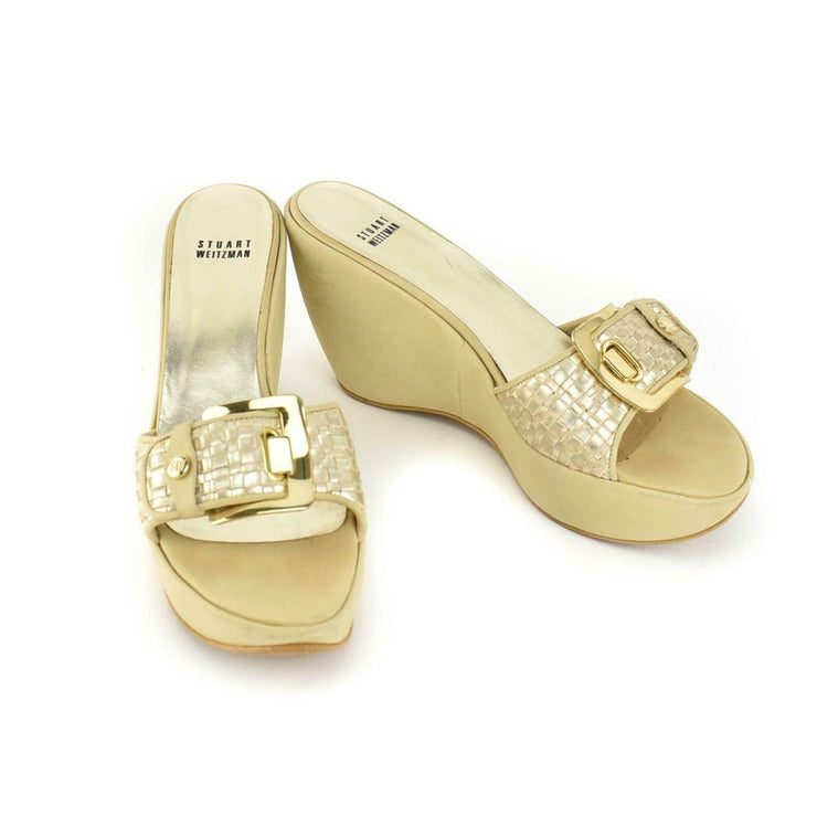 STUART WEITZMAN: Beige, Leather & Logo Platform Wedge Sandals/Heels Sz: 9.5M