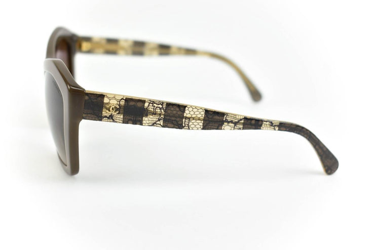 "CHANEL: Brown Lace & ""CC"" Logo, Sunglasses (mt)"