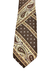"YVES SAINT LAURENT (YSL): Brown & ""Batik"" Pattern, 100% Silk, Club Tie (mm)"
