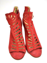 JIMMY CHOO: Red, Leather & Logo Heels/Pumps Sz: 9M
