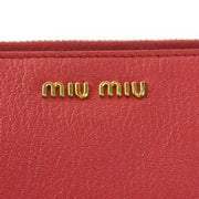 "MIU MIU ""Madras"": Vibrant Pink Leather & Logo Zip-Around Wallet (mn)"