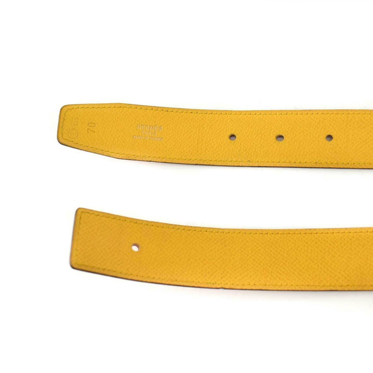 "HERMES: Red/Golden Yellow Reversible Leather & ""H"" Logo Belt fits 26""- 28"" (vp)"